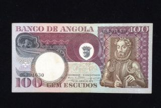 Angola Aunc 100 Escudos 1973 P106 Banknote World Currency Paper Money photo