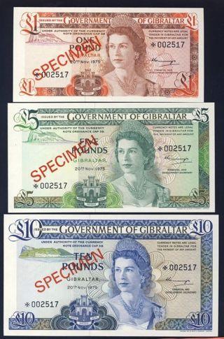 Gibraltar 1975 Cs1 20a,  21a,  22,  23a Specimen 1,  5,  10 & 20 Pounds photo