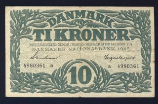 Denmark 1945 37a 10 Kroner Vf photo