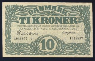 Denmark 1945 37c 10 Kroner Vf photo