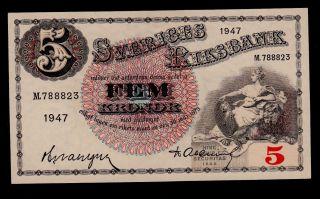 Sweden 5 Kronor 1947 M Pick 33ad Unc. photo