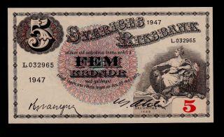 Sweden 5 Kronor 1947 L Pick 33ad Unc. photo