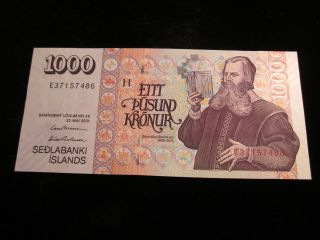2001 Iceland 1000 Kronur Uncirculated Note P - 59 photo