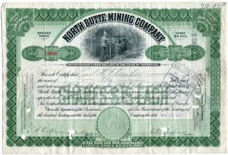 North Butte Mining Co.  Of Minnesota,  1910 10 Shares To Carl Thresher photo