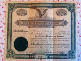Rare Vintage Ephemera 1909 Stock Certificate Juan Newton Manufacturing Co. ,  Ca photo
