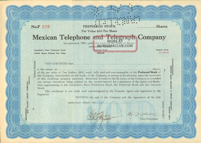 Mexican Telephone And Telegraph Company Preferred Stock Certificate Mexico Share Stocks & Bonds, Scripophily photo
