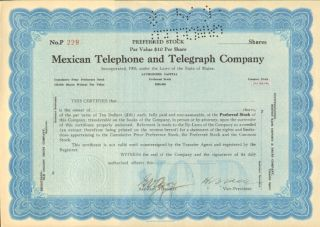 Mexican Telephone And Telegraph Company Preferred Stock Certificate Mexico Share photo