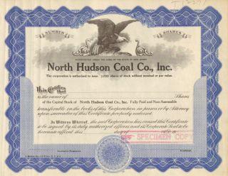 North Hudson Coal Co.  1930s Old Specimen Stock Certificate Scripophily photo