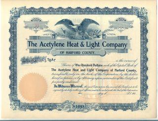 The Acetylene Heat & Light Company Stock Certificate Harford County Maryland photo
