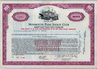 Monmouth Park Jockey Club Stock Certificate Jersey photo