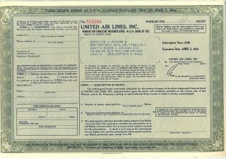 United Air Lines Inc.  Stock Certificate Ual American photo