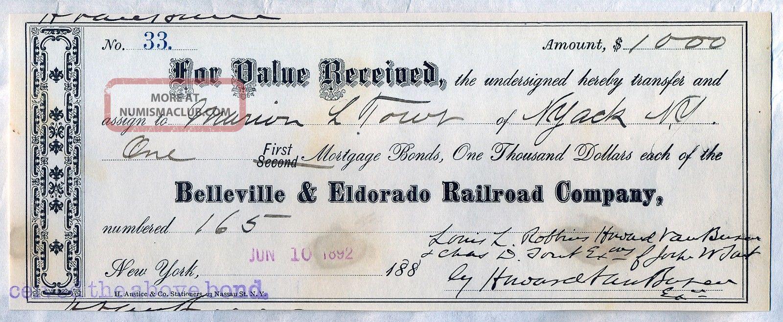 Belleville & Eldorado Railroad Company Transfer Slip Stock Bond Certificate Ny Transportation photo