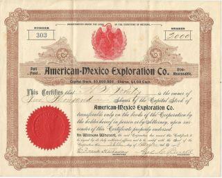 American=mexico Exploration Co.  Antique Stock Certificate - W Prospectus Arizona photo