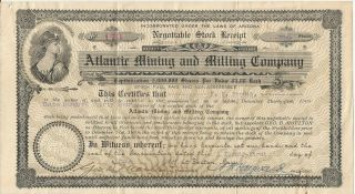 Atlantic Mining And Milling Company Antique Stock Certificate 1907 - Arizona photo