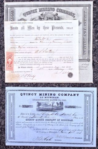 Two 19th Century Quincy Mining Company Of Michigan Stocks 1855,  1864 photo