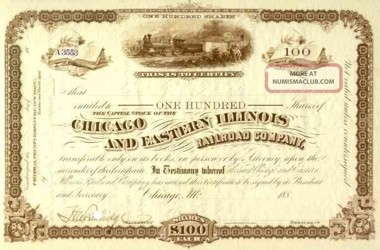 188_ Chicago & Eastern Illinois Rr Stock Certificate Transportation photo