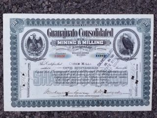 Guanajuata Consolidated Mining & Milling Stock Issued To Ogden Mills In 1921 photo