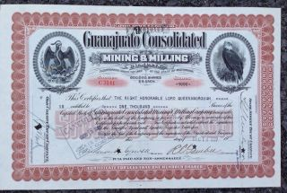1927 Guanajuata Mining Stock Issued To The Right Honorable Lord Queensborough photo