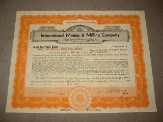 1934 International Mining Milling Stock Certificate Nv. photo