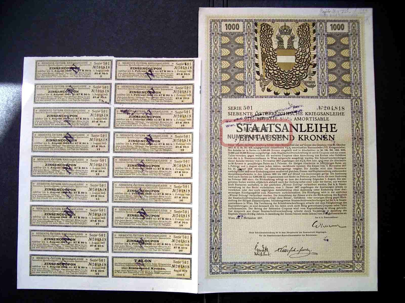 Austria Austrian 1917 Wien Staatsanleihe 1000 Kronen Bond Loan Stock Unc World photo