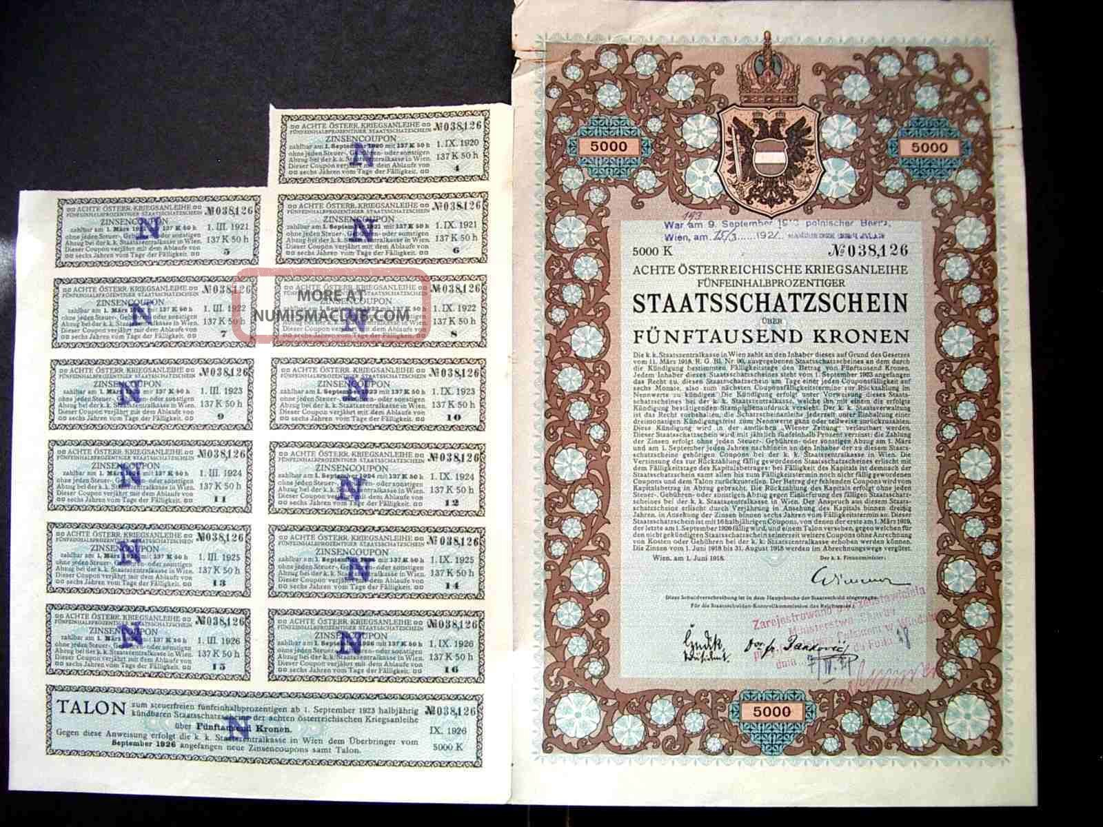 Austria 1915 Wien Staatsschatzschein 5000 Kronen Bond Share Loan Stock Unc World photo