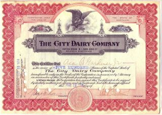 1914 City Dairy Company Stock Certificate Milk Cheese Dairy Farm Maryland photo