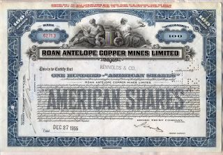 Roan Antelope Copper Mines Limited Stock Certificate Mining photo