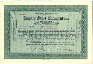 Empire Steel Corporation Stock Certificate Mansfield Ohio photo