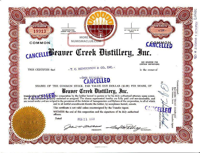 Broker Owned Stock Certificate - - T.  C.  Henderson & Co.  - - Beaver Creek Distillery Ia Stocks & Bonds, Scripophily photo