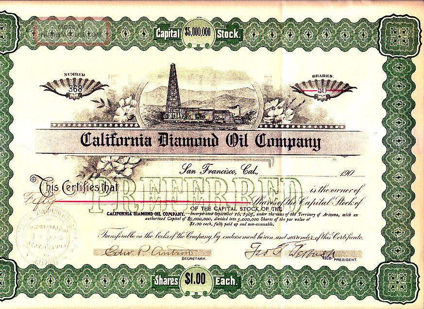 California Diamond Oil Compny Az 190 - Stock Certificate Stocks & Bonds, Scripophily photo