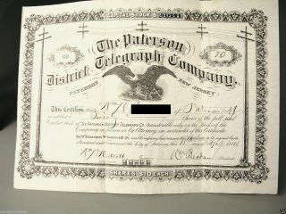 Antique Stock Certificate 1884 Paterson District Telegraph Company Jersey photo