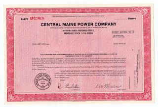 Specimen - Central Maine Power Company Stock Certificate photo