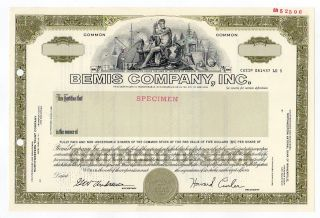 Specimen - Bemis Company,  Inc.  Stock Certificate photo