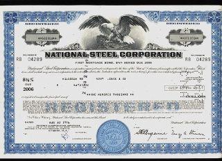 National Steel Corp Mishawaka Indiana (now Us Steel) Usd 100,  000 Bond 1976 photo