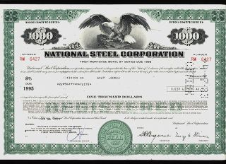 National Steel Corp Mishawaka Indiana (now Us Steel) Usd 1,  000 Bond 1977 photo