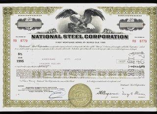 National Steel Corp Mishawaka Indiana (now Us Steel) Usd 100,  000 Bond 1983 photo