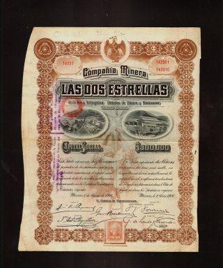Mexico Mining : Compania Minera Las Dos Estrellas 10 Sh Dd 1906 Not Cancelled photo
