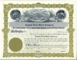 Crystal Lead Mines Company Stock Certificate Wallace Idaho Mining photo