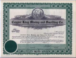 Copper King Mining & Smelting Co.  Stock Certificate Mullan Idaho photo