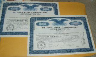 2 Certificates 80 John Street Corporation York 1937 Eagle Vignette photo