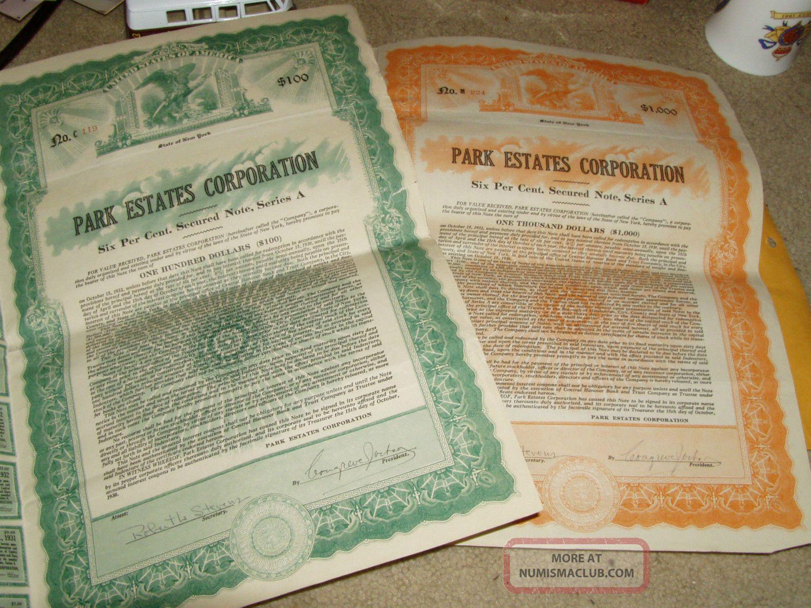 2 1929 Certificates From Park Estates Corporation 6% Secured Note Eagle Vignette Stocks & Bonds, Scripophily photo