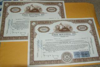 2 Certificates Form Moulding,  Inc 1959 100 Shares Of Stock Vignette photo