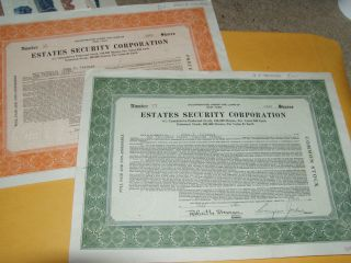 1930 Estates Security Corporation 1000 & 2800 Shares Of Stock Each York photo