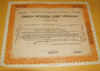 1929 American Department Stores Corporation Temporary Certificate For 25 Shares photo