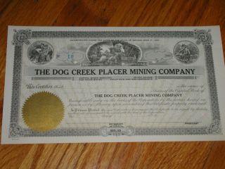 C1931 Dog Creek Placer Mining Co. ,  Unissued Stock Cert photo