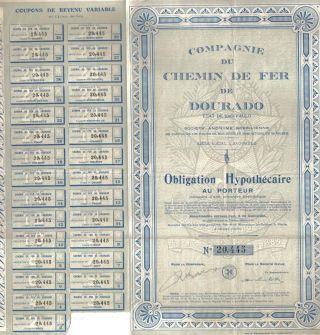 Brazil Bond 1920 Railway Company Chemin De Fer Dourado Uncancelled Coupons photo