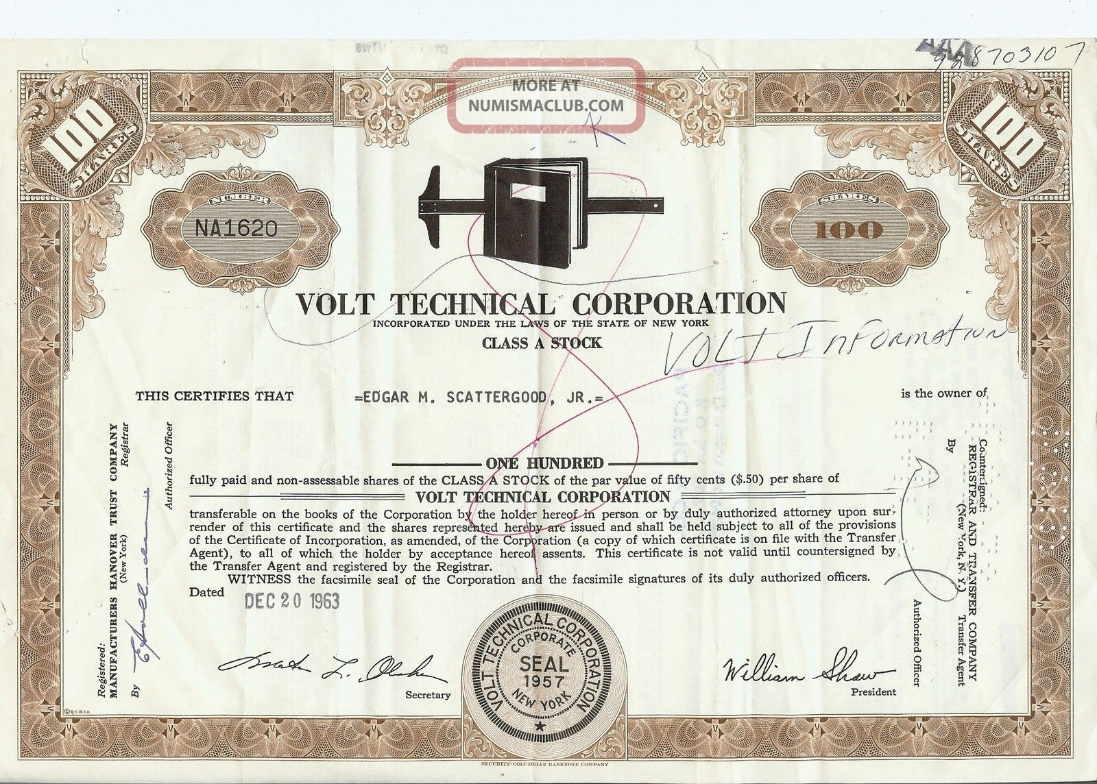 Volt Information Sciences Inc.  Stock Certificate; 100 Class A Shares Issued 1963 Stocks & Bonds, Scripophily photo
