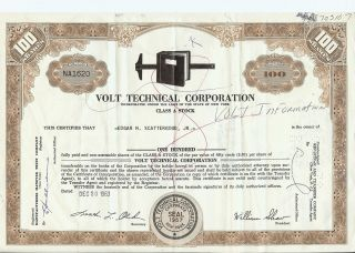 Volt Information Sciences Inc.  Stock Certificate; 100 Class A Shares Issued 1963 photo
