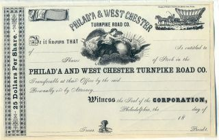 Philadelphia & West Chester Turnpike Co.  Stock Certificate Philad ' A photo