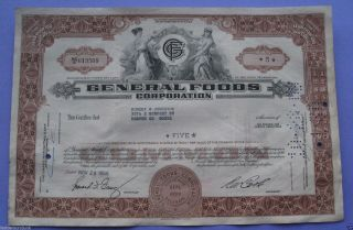 Stock Certificate For General Foods Corporation 1966 photo